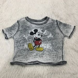 Disney's Mickey Mouse black burnout crop t shirt